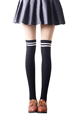 Biwinky Girls Stripe Over the Knee Cotton Student Tight High Socks Stockings