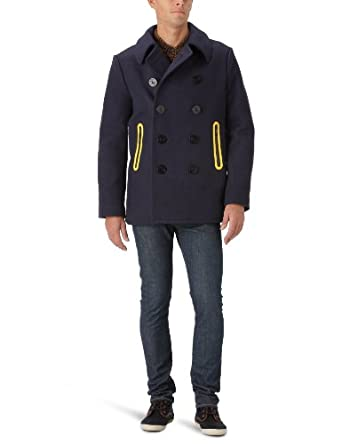 G-Star Raw Men's Wool P-Coat, MN Kyoto Blue, Medium