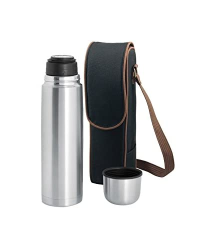 Picnic Time Kona Express Coffee/Tea Duffel with 24-Oz. Vacuum Flask, Black/Brown