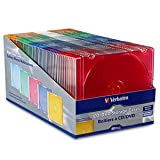 Verbatim 94178 Slim CD and DVD Storage Cases, 5 Assorted Colors, 50-Pack