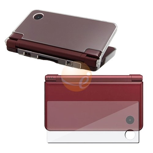 Clear Crystal Case for Nintendo DSi LL + 3-LCD Kit Reusable Screen Protector