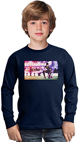 Neymar JR Da Silva Santos Junior Amazing Kids Long Sleeved Shirt by True Fans Apparel - 100% Cotton- Ideal For Active Boys-Casual Wear - Perfect For A Present Unisex 14-15 years