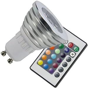 zestyle farbwechsel rgb led lampe strahler gu10 3watt multicolor dimmbar inklusive infrarot. Black Bedroom Furniture Sets. Home Design Ideas