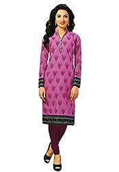 Salwar Studio Women's Purple & Magenta Cotton Self Printed Kurti Fabric