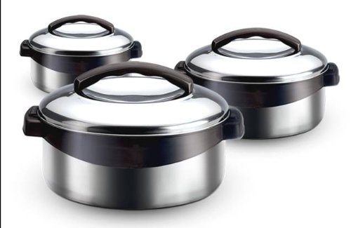 Milton Regent Hot Pot 3 piece Insulated Casserole Gift Set Keep Warm/Cold Upto 4-6 Hours, Full Stainless Steel (Hot Box compare prices)