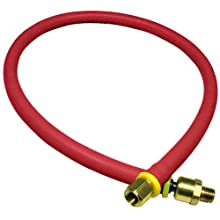 "Amflo 25L-24BD Red 300 PSI Rubber Lead-in Air Hose 1/4"" x 24"" With 1/4"" MNPT x 1/4"" FNPT Fittings, Bend Restrictors, And Ball Swivel"