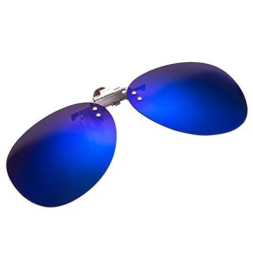 Zheino One-piece Sonnenbrillen-Clip Polarisierende Flip Up AVIATOR Kunststoff ,UV 400 Sonnenbrille Brillen Aufsatz Clipon Clip On's Brille Sonnenbrillen,Sonnenclips,Clips zum Autofahren Blue