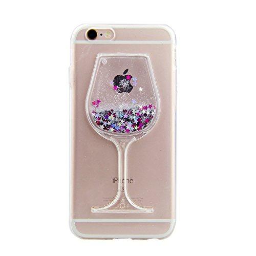 iPhone-6S-Glitzer-HlleiPhone-6S-Case-TransparentiPhone-6-TPU-Case-iPhone-6S-Flssige-CaseHlle-fr-iPhone-6S-with-47-ZollCool-3D-Crystal-Klar-Dual-Layer-Schutzhlle-Rotwein-Design-Flowing-Lquid-Wasser-Fru