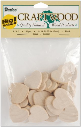 Darice 9119-13 Big Value Unfinished Wood Heart, Natural, 1-Inch (1 Inch Wood Hearts compare prices)