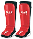 M.A.R International Ltd Genuine Leather Mma Shin And Instep Leg Guards Boxing Fitness Kickboxing Sparring Gear Thai Boxing Gym Equipment Muay Thai Training Supplies Red Large