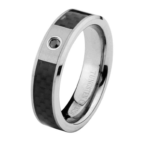 6mm 1 One Stone Black Diamond Carbon Fiber Cobalt Free Tungsten Carbide COMFORT-FIT Wedding Band Ring for Men and Women (Size 8 to 12) - Size 8
