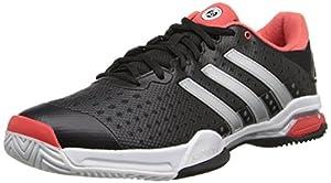 adidas Performance Men's Barricade Team 4 Tennis Shoe, Core Black/Silver/Metallic/Bright Red, 9 M US