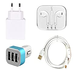 High Quality 2.0 Amp USB Charger, Fast Charging USB Cable, 3.5mm Jack Handsfree, 3 Jack USB Car Charger Compatible With Apple iPhone 6 Plus