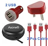 Asone Red 4-in-1 Earphone/cable Hard Case/Bag + Wall Charger + Car Charger+ 1M Length USB Sync Data / Charging Cable for iPhone 5 / 5C / 5S iPad Mini iPod Touch 5th Gen