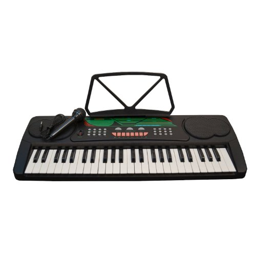 49 Keys Black Kids Keyboard Children Student Electronic Digital Piano With Microphone & notes Holder – with AC Adapter & DirectlyCheap(TM) Translucent Blue Medium Pick