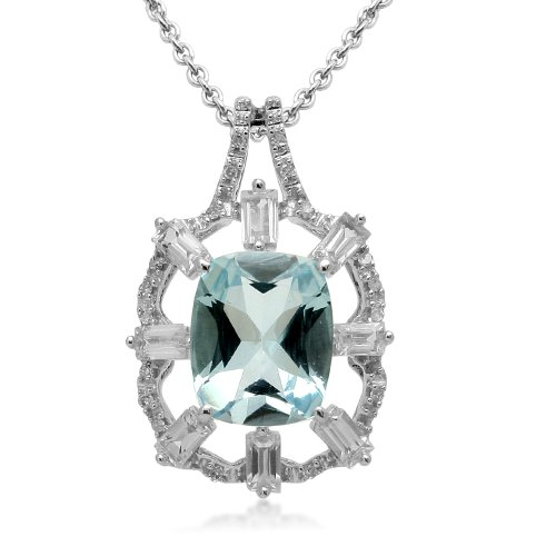 Sterling Silver and Blue Topaz with Created White Sapphire Accents Diamond Pendant Necklace, 18