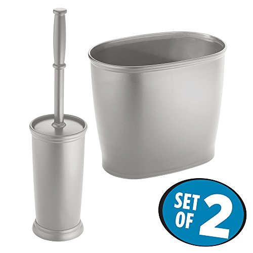 mDesign Toilet Bowl Brush and Wastebasket Trash Can for Bathroom - Set of 2, Gray (Nickel Trash Can compare prices)