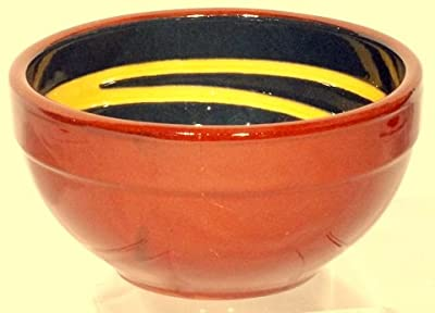 Genuine Terracotta 13cm Breakfastdessert Bowl - Dark Greenyellow Swirl Set Of 2 from Be-Active