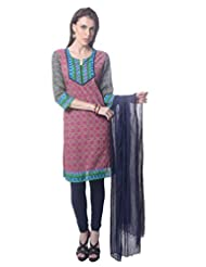 Saving Tree Pink Cotton A Line Suit With Matching Contrast Legging And Dupatta