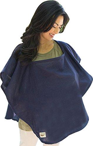 Poncho Baby Organic Nursing Cover, Oval Navy Blue, Navy