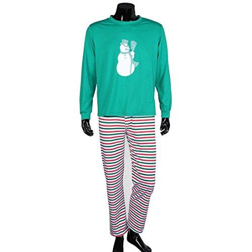 Kingko® Moda età Donne Uomini natale di Natale Pajamas Set Sleepwear biancheria da notte (M, Verde)