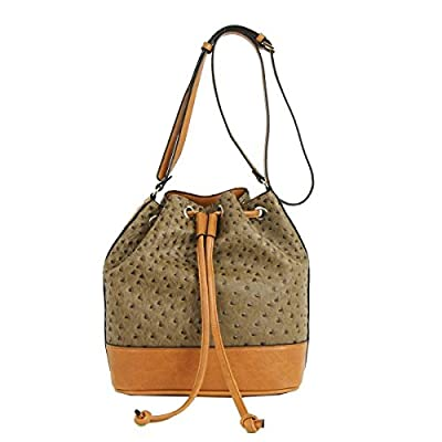 Emilie M. EMM10172MC Jane Drawstring Bucket Hobo, Mink Ostrich And Cognac
