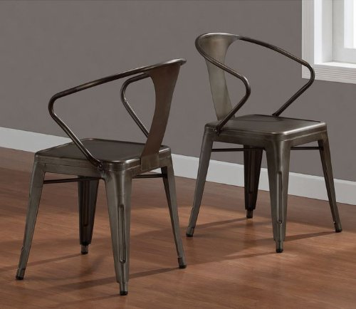 Vintage Tabouret Stacking Chair Set Of 4 Steel Brown Metal Dining Room
