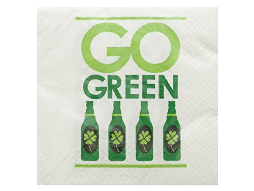 bulk buys Go Green Irish Cocktail Napkins Set, Black/White/Green - 1