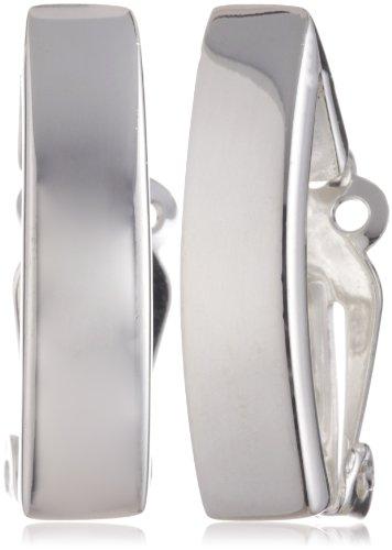 VINANI German 925 Sterling Silver Women Clip-On Earrings Rectangle shiny LLG