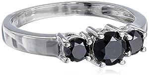 10K White Gold 1.00 Cttw 3 Stone Black Diamond Ring, Size 6