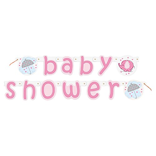 5.25ft Pink Elephant Girl Baby Shower Banner (Elephant Baby Shower Banner compare prices)