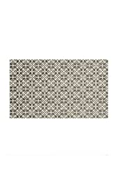 Crystal Art 2 Piece Ruggable Floral Tiles Rich Grey & White Washable Rug System, 3\' x 5\'