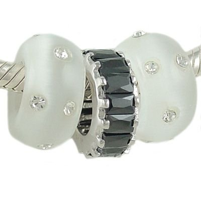 Jet Black and White Cat's Eye Baguette CZ Sterling Bead Trio for European Charm Bracelet