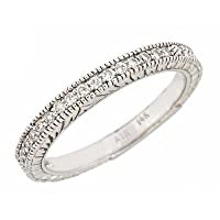 Diamond Womens Wedding Anniversary Band Antique Style 14k White Gold (1/4 cttw)