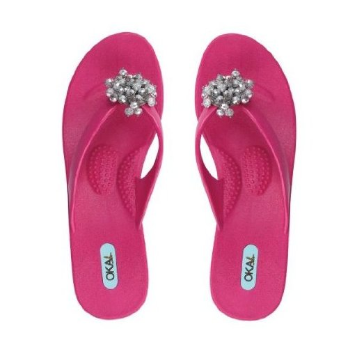 Oka B Virginia Fuchsia Beads Flip Flops Sandals Thongs - Size Medium Large front-44496