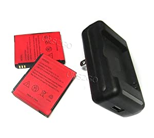 2x 1680mAh Standard Battery + Travel Home Charger for ZTE Merit Straight Talk / NET10 CellPhone Accessory