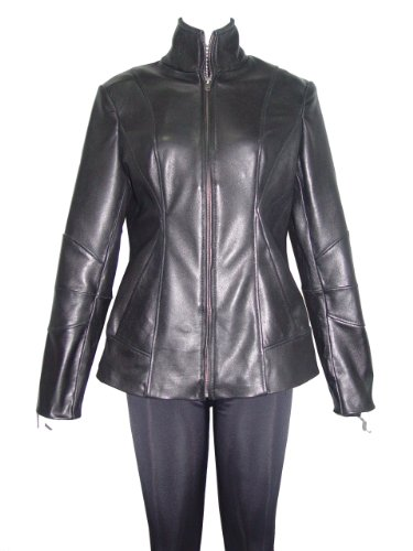 Paccilo FREE tailoring Women 4201 Leather Moto Jacket Open Bottom Zip Front