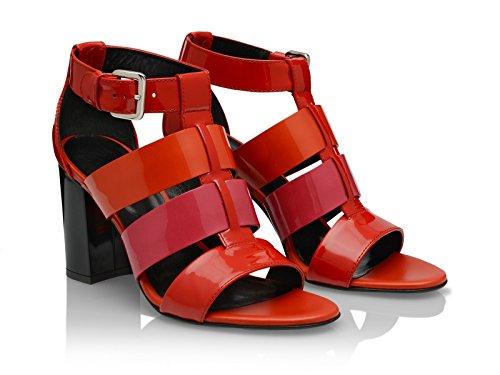 Sandali tacco alto Hogan in vernice rosso tacco nero - Codice modello: HXW2030I45018I220G - Taglia: 36 IT