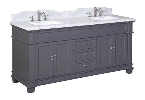 Kitchen Bath Collection Kbc5972gycarr Elizabeth Bathroom Vanity With Marble Countertop Cabinet
