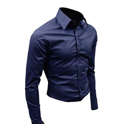 SODIAL (R) Moda Uomo alla moda di lusso camicia casuale slim fit T-shirt manica lunga Casual 17 blu marino CN L=US/UK S