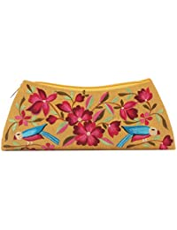 Soulful Threads Hand Clutch In Cotton Silk Fabric With Elegant Embroidery - B01MQLYZOW