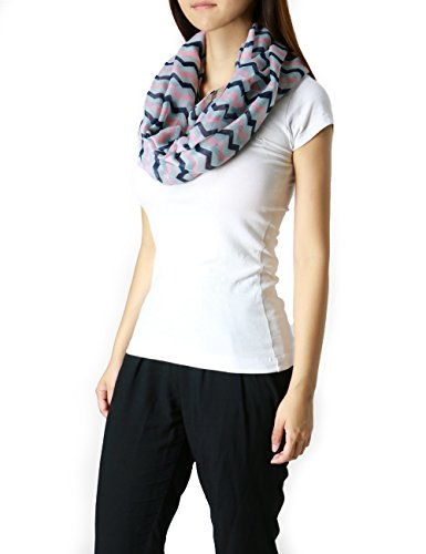 Fands Chevron Fashion Infinity Scarf | Loop Style | Multi Color (Pink/Black/Navy)