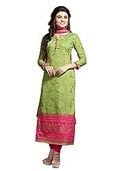 Blissta Green Chanderi Embroidered Dress Material