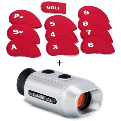 Hde Digital Range Finder Scope W/ 11 Neoprene Golf Club Head Cover Set (Red)