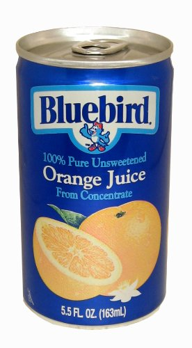 Bluebird  Unsweetened Orange Juice, 5.5-Ounce Cans (Pack of 48) (Can Orange Juice compare prices)