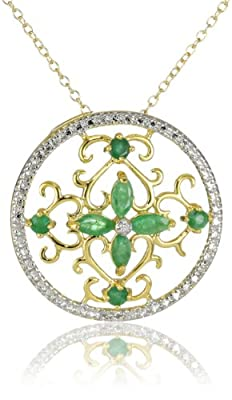 """Yellow Gold-Plated Sterling Silver Emerald and Diamond Accent Pendant Necklace, 18"""""""