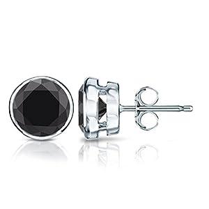 18k White Gold Round Black Diamond Stud Earrings Bezel (1/2 cttw, Black Color)