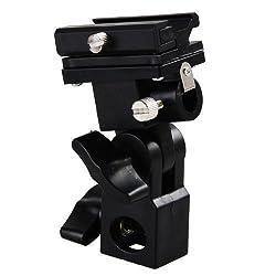 PhotoTrust Flash Bracket Swivel Bracket Umbrella Holder Studio Tilting Bracket for Flash, Speedlight, Nikon SB-500 , SB-600 , SB-700 , SB-800 , SB-900 , SB-910 , Canon Speedlite 90EX , 270EX , 270EX II , 320EX ,380EX, 430EX,