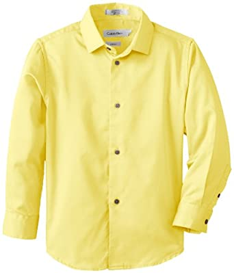 Calvin Klein Dress Up Little Boys' Bright Solid Sateen Long Sleeve Dress Shirt 1, Bright Yellow, 04