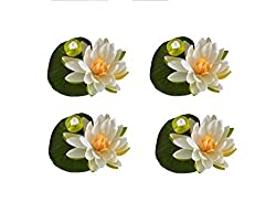 BALLERINA'S Lotus with Bud Artificial Floating Flower (Set of 4; D14cm; White)
